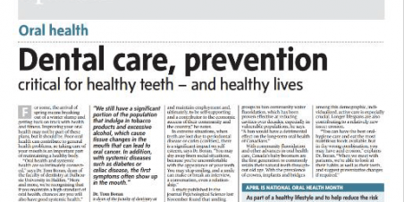Dental Care, Prevention Critical for Healthy Teeth – and Healthy Lives